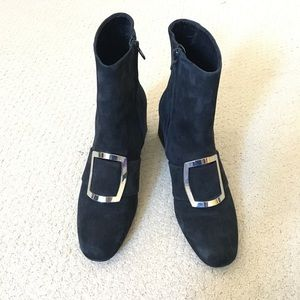 Navy Blue Square Buckle Boots